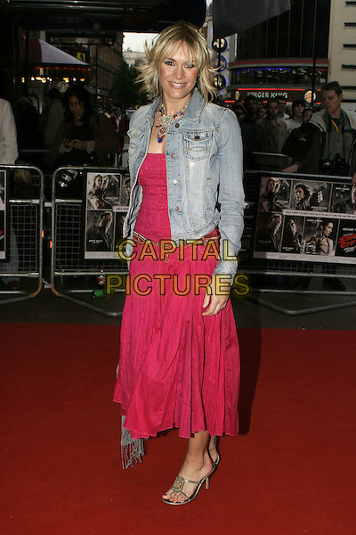 "JENNI FALCONER.Red Carpet Arrivals at ""Sin City"" Uk Film Premiere,.Empire Cinema Leicester Square, .London, May 23rd 2005..full length red pink strapless dress denim jacket jenny.Ref: AH.www.capitalpictures.com.sales@capitalpictures.com.©Adam Houghton/Capital Pictures."