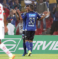 BOGOTA -COLOMBIA, 21-FEBRERO-2015.Roman Torres  jugador de Millonarios celebra un gol anotado a Cortulua  durante partido por la fecha 5 de la Liga Águila I 2015 jugado en el estadio Nemesio Camacho El Campin  de la ciudad de Bogotá./ Roman Torres   player of Millonarios celebrates a goal scored to Cortulua  during match for the fifth date of the Aguila League I 2015 played at Nemesio Camacho El Campin stadium in Bogotá city<br />  . Photo / VizzorImage / Felipe Caicedo  / Staff