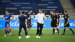 Trainer Julian Nagelsmann (Leipzig, m.) und Co-Trainer Kai Herdling (Hoffenheim, l.) klatschen nach dem Spiel ab.<br /> <br /> Sport: Fussball: 1. Bundesliga: Saison 19/20: 31. Spieltag: TSG 1899 Hoffenheim - RB Leipzig, 12.06.2020<br /> <br /> Foto: Markus Gilliar/GES/POOL/PIX-Sportfotos