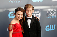 Brooklynn Prince and Jacob Tremblay attend the 23rd Annual Critics' Choice Awards at Barker Hangar in Santa Monica, Los Angeles, USA, on 11 January 2018. Photo: Hubert Boesl - NO WIRE SERVICE - Photo: Hubert Boesl/dpa /MediaPunch ***FOR USA ONLY***
