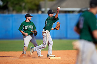 Farmingdale Rams shortstop Brandon Snow (1) throws to first base as second baseman Joshua Shapiro (9) looks on during a game against the Union Dutchmen on February 21, 2016 at Chain of Lakes Stadium in Winter Haven, Florida.  Farmingdale defeated Union 17-5.  (Mike Janes/Four Seam Images)