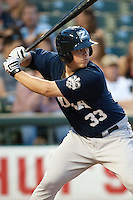 New Orleans Zephyrs third baseman Matt Dominquez #33 at bat during the Pacific Coast League baseball game against the Round Rock Express on April 30, 2012 at The Dell Diamond in Round Rock, Texas. The Zephyrs defeated the Express 5-3. (Andrew Woolley / Four Seam Images)