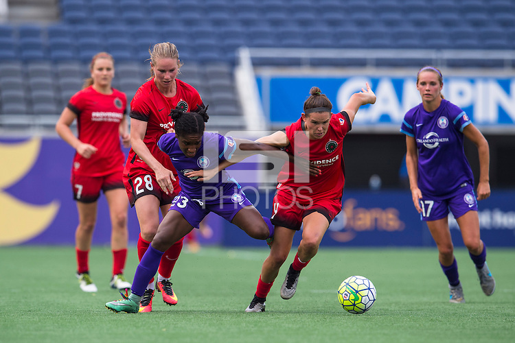 Orlando, FL - Sunday June 26, 2016: Amandine Henry, Jasmyne Spencer, Emily Menges  during a regular season National Women's Soccer League (NWSL) match between the Orlando Pride and the Portland Thorns FC at Camping World Stadium.
