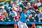 1 March 2019: Miami Marlins infielder Isan Diaz at bat during a Spring Training game against the Washington Nationals at Roger Dean Stadium in Jupiter, Florida. The Nationals defeated the Marlins 5-4 in Grapefruit League play. Mandatory Credit: Ed Wolfstein Photo *** RAW (NEF) Image File Available ***