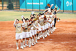 Japan team group (JPN), <br /> AUGUST 24, 2018 - Softball : <br /> Women's Final match <br /> between Japan - Chinese Taipei <br /> at Gelora Bung Karno Softball field <br /> during the 2018 Jakarta Palembang Asian Games <br /> in Jakarta, Indonesia. <br /> (Photo by Naoki Nishimura/AFLO SPORT)