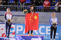 "SHORT TRACK: MOSCOW: Speed Skating Centre ""Krylatskoe"", 14-03-2015, ISU World Short Track Speed Skating Championships 2015, Podium Ladies 500m, Elise CHRISTIE (GBR), Kexin FAN (CHN), Arianna FONTANA (ITA), ©photo Martin de Jong"