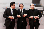 US director Oliver Stone (C) is flanked by Puerto Rican actor Benicio del Toro (L) and US actor John Travolta (R) attend the photocall before the Donosti Awards during the 60th San Sebastian Donostia International Film Festival - Zinemaldia.September 23,2012.(ALTERPHOTOS/ALFAQUI/Acero)