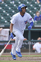 Iowa Cubs third baseman Jeimer Candelario (35) heads toward first base during a game against the Round Rock Express at Principal Park on April 16, 2017 in Des  Moines, Iowa.  The Cubs won 6-3.  (Dennis Hubbard/Four Seam Images)