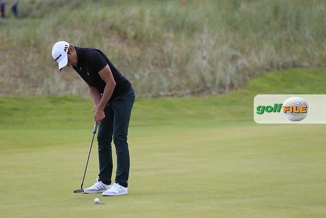Jaokim Lagergren (SWE) putts on the 13th green during Thursday's Round 1 of the 2017 Dubai Duty Free Irish Open held at Portstewart Golf Club, Portstewart, Co Derry, Northern Ireland.<br /> Picture: Golffile | Eoin Clarke<br /> <br /> <br /> All photo usage must carry mandatory copyright credit (&copy; Golffile | Eoin Clarke)