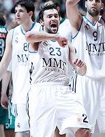 Real Madrid's Sergio Llull celebrates the victory after Euroleague 2012/2013 match.January 11,2013. (ALTERPHOTOS/Acero) /NortePhoto
