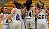 Port Jefferson varsity girls basketball teammates celebrate after their 43-30 win over Haldane in the NYSPHSAA Class C Southeast Regional Final at SUNY Old Westbury on Thursday, March 9, 2017.