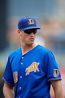 Durham Bulls Aaron Slegers (38) during an International League game against the Toledo Mud Hens on July 16, 2019 at Fifth Third Field in Toledo, Ohio.  Durham defeated Toledo 7-1.  (Mike Janes/Four Seam Images)