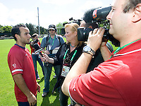 USA's Landon Donovan gives an interview after training in Hamburg, Germany, for the 2006 World Cup, June, 6, 2006.