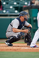 Scranton/Wilkes-Barre RailRiders catcher Erik Kratz (36) waits to receive a pitch during a game against the Buffalo Bisons on May 18, 2018 at Coca-Cola Field in Buffalo, New York.  Buffalo defeated Scranton 5-1.  (Mike Janes/Four Seam Images)