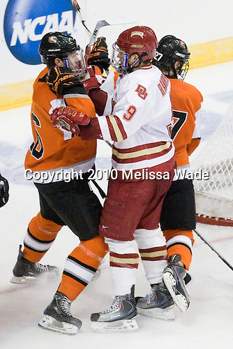 Tyler Brenner (RIT - 16), Rhett Rakhshani (Denver - 9) - The Rochester Institute of Technology (RIT) Tigers defeated the Denver University Pioneers 2-1 on Friday, March 26, 2010, in their NCAA East Regional semi-final at the Times Union Center in Albany, New York.