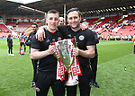 Sheffield United's Adam Geelan and Carl Hopwood during the League One match at Bramall Lane, Sheffield. Picture date: April 30th, 2017. Pic David Klein/Sportimage