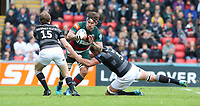 Leicester Tigers' Guy Thompson is tackled by Newcastle Falcons' Simon Hammersley (left) and Will Witty <br /> <br /> Photographer Stephen White/CameraSport<br /> <br /> Gallagher Premiership Round 2 - Leicester Tigers v Newcastle Falcons - Saturday September 8th 2018 - Welford Road - Leicester<br /> <br /> World Copyright &copy; 2018 CameraSport. All rights reserved. 43 Linden Ave. Countesthorpe. Leicester. England. LE8 5PG - Tel: +44 (0) 116 277 4147 - admin@camerasport.com - www.camerasport.com
