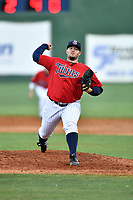 Elizabethton Twins pitcher Christian Broussard (44) delivers a pitch during a game against the Pulaski Yankees at Joe O'Brien Field on June 27, 2016 in Elizabethton, Tennessee. The Yankees defeated the Twins 6-4. (Tony Farlow/Four Seam Images)