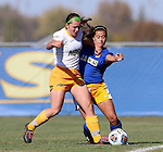 BROOKINGS, SD - OCTOBER 18: Roxy Roemer #4 from North Dakota State battles for the ball with Delaney Ratcliffe #3 from South Dakota State during their game Sunday afternoon at Fischback Soccer Field in Brookings. (Photo by Dave Eggen/Inertia)