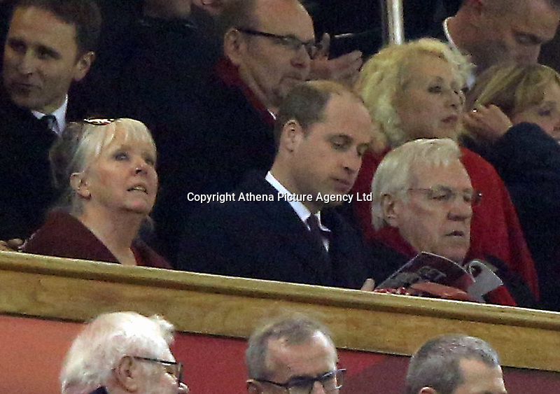 HRH Prince William at the Wales v France, 2016 RBS 6 Nations Championship, at the Principality Stadium, Cardiff, Wales, UK