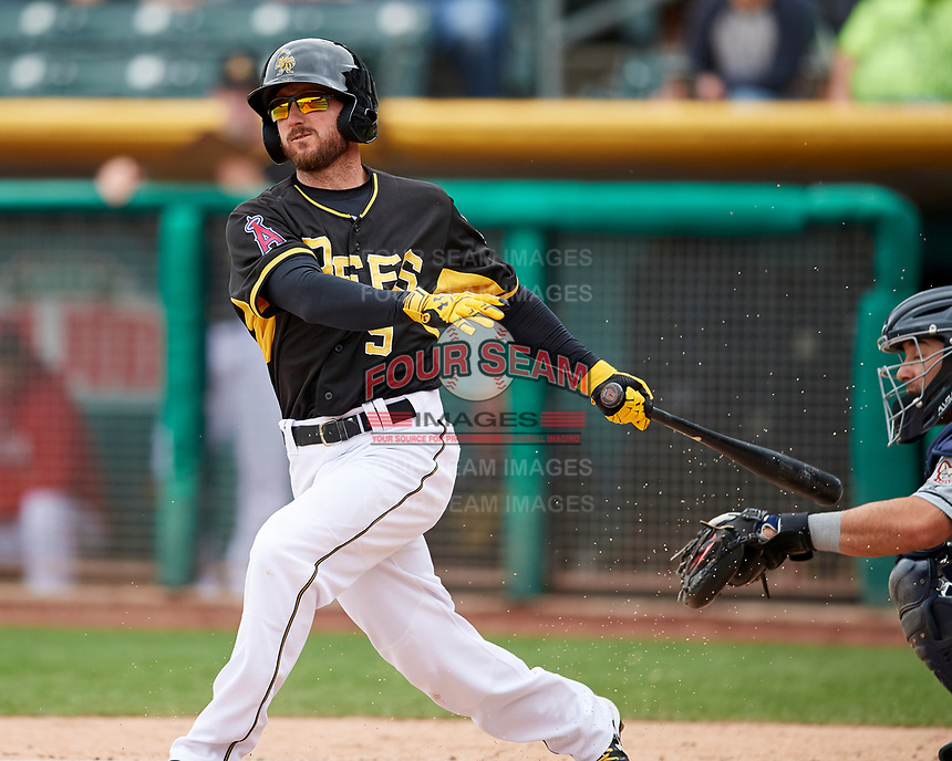 Shane Robinson (9) of the Salt Lake Bees swings while at bat against the El Paso Chihuahuas in Pacific Coast League action at Smith's Ballpark on April 30, 2017 in Salt Lake City, Utah. El Paso defeated Salt Lake 12-3. This was Game 2 of a double-header originally scheduled on April 28, 2017. (Stephen Smith/Four Seam Images)