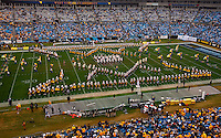 West Virginia marching band preforms at half time during the Meineke Car Care Bowl college football game at Bank of America Stadium in Charlotte, NC.