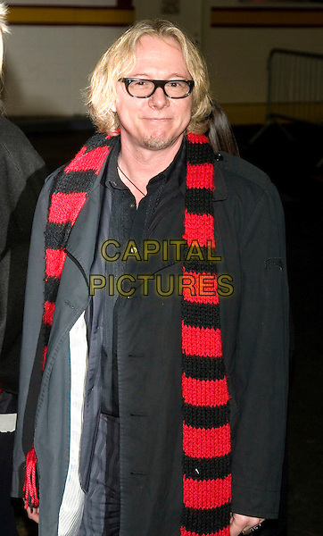 MIKE MILLS - R.E.M..Food Bank for New York City's 5th Annual Can-Do Awards Dinner at Pier Sixty, Chelsea Piers, New York, NY, USA..April 7th, 2008 .half length rem black red striped stripes scarf glasses blue jacket .CAP/LNC/TOM.©TOM/LNC/Capital Pictures.