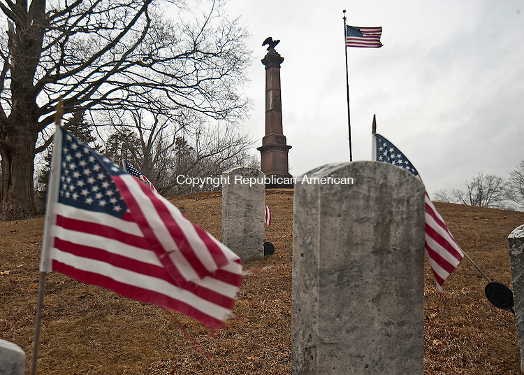 BRISTOL ,  CT,  CT-041115JS56- The Soldiers' Monument in West Cemetery in Bristol is one of the oldest monuments in the state. <br /> Jim Shannon Republican-American