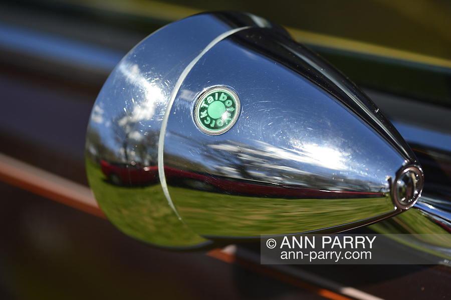 Floral Park, New York, U.S. - April 27, 2014 - The Talbot Sports Mirror, with its distinctive green dot, is on a classic car exhibited at the 35th Annual Antique Auto Show at Queens Farm.