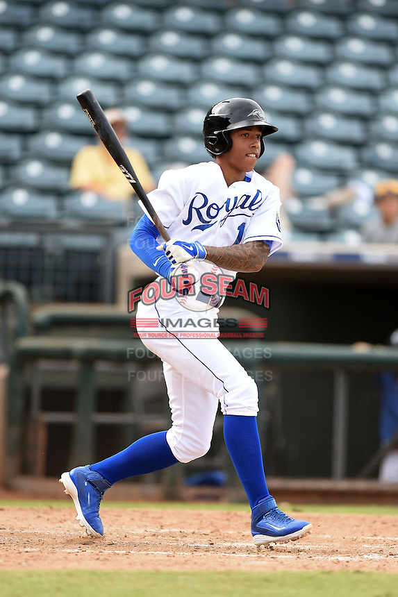 Peoria Javelinas shortstop Raul Mondesi (1) during an Arizona Fall League game against the Mesa Solar Sox on October 15, 2014 at Surprise Stadium in Surprise, Arizona.  Mesa defeated Peoria 5-2.  (Mike Janes/Four Seam Images)