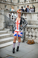 Paloma Faith wears a Union Jack outfit at London Fashion Week
