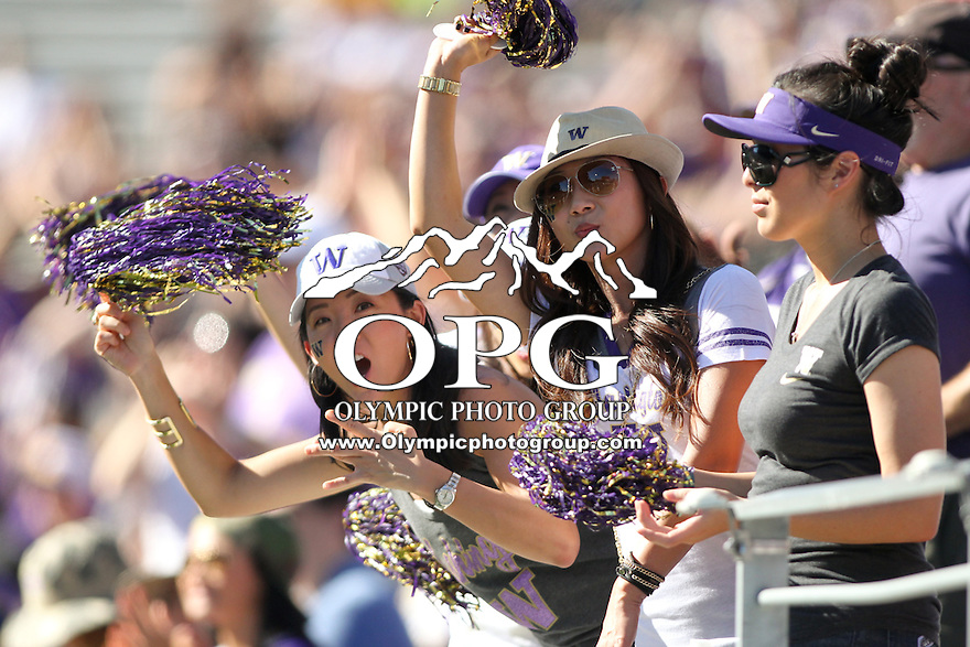 Sept 20, 2014:  Washington fans cheered the Huskies on during the game against Georgia State.  Washington defeated Georgia State 45-14 at Husky Stadium in Seattle, WA.