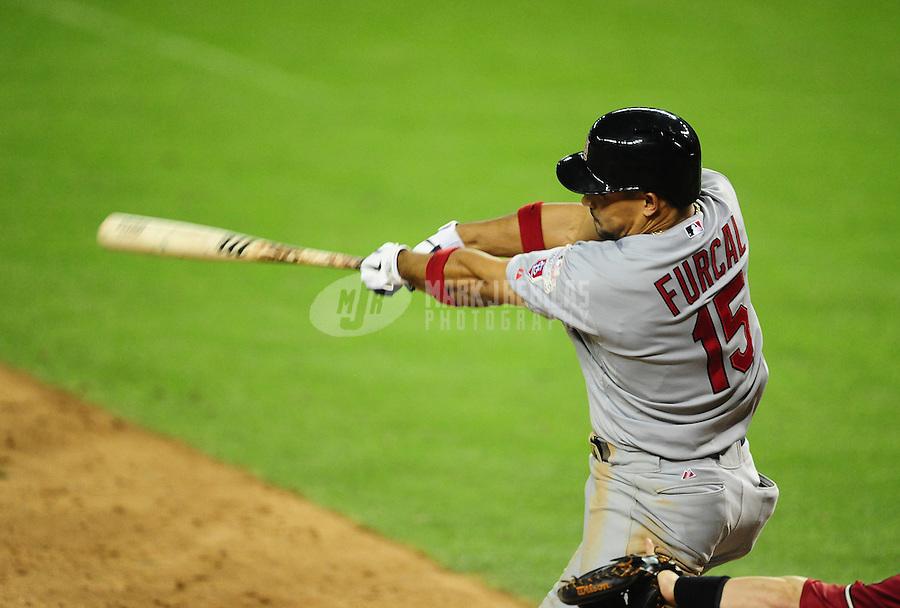 May 9, 2012; Phoenix, AZ, USA; St. Louis Cardinals shortstop Rafael Furcal bats in the ninth inning against the Arizona Diamondbacks at Chase Field. The Cardinals defeated the Diamondbacks 7-2. Mandatory Credit: Mark J. Rebilas-