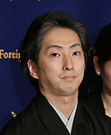 """April 26, Tokyo, Japan - Japanese kabuki actor Nakamura Shichinosuke attends a news conference at Tokyo Foreign Correspondents Club of Japan on Thursday, April 26, 2018. Nakamura will perform kabuki in the """"Japonismes 2018, a cultural expo starting in Paris and surrounding areas in July to celebrate the 160th anniversary of?Japan-France?diplomatic relations.  (Photo by Natsuki Sakai/AFLO) AYF -mis-"""