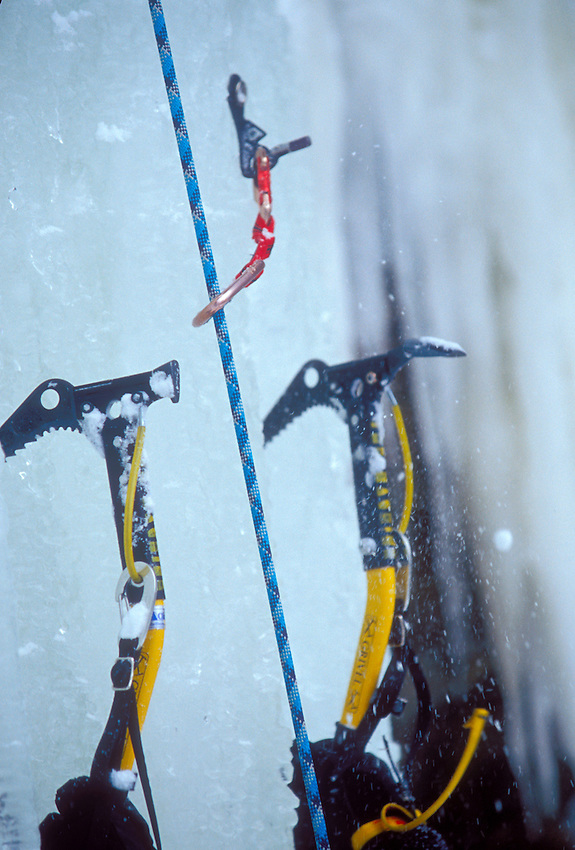 An ice climber's ice axes in Pictured Rocks National Lakeshore near Munising, Mich.