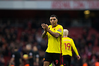 Watford's Troy Deeney applauds the fans at the final whistle <br /> <br /> Photographer Craig Mercer/CameraSport<br /> <br /> The Premier League - Sunday 11th March 2018 - Arsenal v Watford - The Emirates - London<br /> <br /> World Copyright &copy; 2018 CameraSport. All rights reserved. 43 Linden Ave. Countesthorpe. Leicester. England. LE8 5PG - Tel: +44 (0) 116 277 4147 - admin@camerasport.com - www.camerasport.com