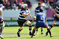 Dave Attwood of Bath Rugby takes on the Stade Francais defence. European Rugby Challenge Cup Semi Final, between Stade Francais and Bath Rugby on April 23, 2017 at the Stade Jean-Bouin in Paris, France. Photo by: Patrick Khachfe / Onside Images
