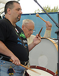 Left to right, Dominick Cuccia and Nick Attanasio, age 88, performing as the Not So Traditional American Rudimental Drummers group, at the Celebration of World Drums and Drummers Drum Boogie Festival to Benefit the Woodstock Chimes Fund, held at Cornell Park in Kingston, NY on Saturday, September 17, 2011.in , NY. Photo by Jim Peppler. Copyright Jim Peppler/2011.
