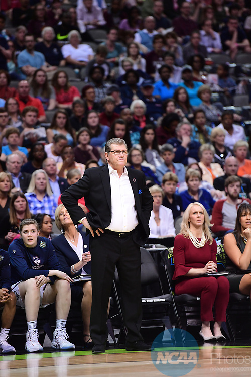 DALLAS, TX - MARCH 31: Head coach Geno Auriemma of University of Connecticut during the 2017 Women's Final Four at American Airlines Center on March 31, 2017 in Dallas, Texas. (Photo by Justin Tafoya/NCAA Photos via Getty Images)