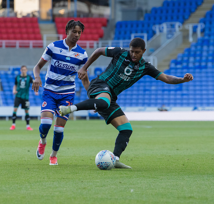 Swansea City's Rhian Brewster (right) under pressure from Reading's Michael Olise (left) <br /> <br /> Photographer David Horton/CameraSport<br /> <br /> The EFL Sky Bet Championship - Reading v Swansea City - Wednesday July 22nd 2020 - Madejski Stadium - Reading <br /> <br /> World Copyright © 2020 CameraSport. All rights reserved. 43 Linden Ave. Countesthorpe. Leicester. England. LE8 5PG - Tel: +44 (0) 116 277 4147 - admin@camerasport.com - www.camerasport.com