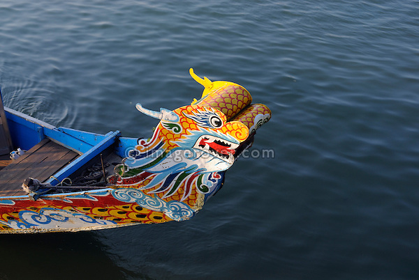 Asia, Vietnam, Hue. Dragon boat on the river Huong (Perfume River).