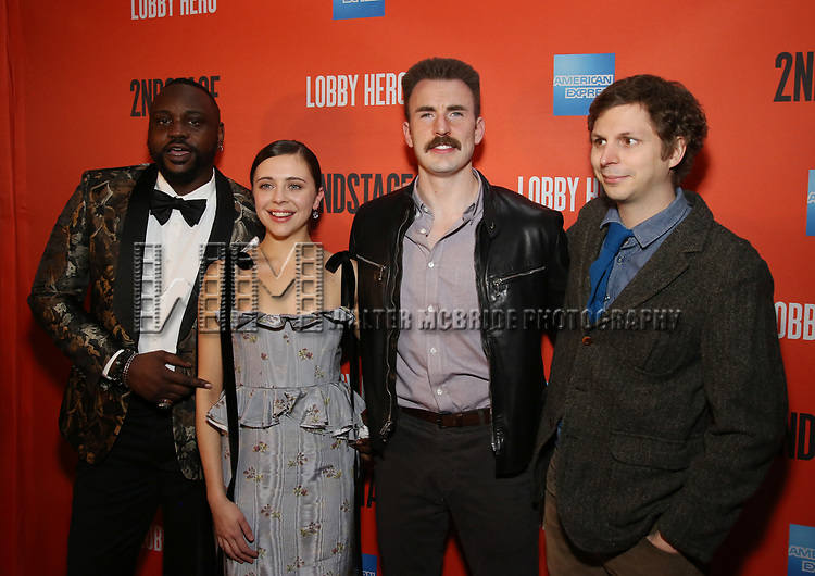Brian Tyree Henry, Bel Powley, Chris Evans, and Michael Cera attends the the Broadway Opening Night Performance After Party for 'Lobby Hero' at Bryant Park Grill on March 26, 2018 in New York City.