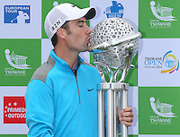 ROSS FISHER kisses the Champion Trophy and wins the Final Round of The Tshwane Open 2014 at the Els (Copperleaf) Golf Club, City of Tshwane, Pretoria, South Africa. Picture:  David Lloyd / www.golffile.ie