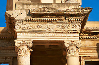 Close up of the ancient Library of Celsus , a Roman building ruins in Ephesus, Anatolia, Turkey