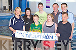 SWIMMATHON: Taking part in the 50km Swimmathon in aid of Surf 2 Heal Ireland's first surf camp for kids with autism at the Manor West hotel leisure centre on Sunday l-r: Norma Mulcahy (Surf 2 Heal), Pauline Hegarty (Manor West hotel), Oisi?n Daly, Patrick Hogan (Sporting Chance), Bri?d Browne (Surf 2 Heal), Shane Daly and John Keirns (Sporting Chance).