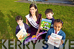Rose of Tralee Clare Kambamettu with Eoin Higgins, Darragh Hughes and Ephrata Yosef visited Balloonagh Primary School on Tuesday morning to launch their book week.