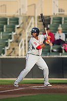 Rafael Devers (13) of the Greenville Drive at bat against the Kannapolis Intimidators at CMC-Northeast Stadium on April 28, 2015 in Kannapolis, North Carolina.  The Intimidators defeated the drive 3-2.  (Brian Westerholt/Four Seam Images)