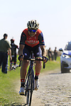 Luka Pibernik (SLO) Bahrain-Merida on pave sector 17 Hornaing a Windignies during the 115th edition of the Paris-Roubaix 2017 race running 257km Compiegne to Roubaix, France. 9th April 2017.<br /> Picture: Eoin Clarke | Cyclefile<br /> <br /> <br /> All photos usage must carry mandatory copyright credit (&copy; Cyclefile | Eoin Clarke)