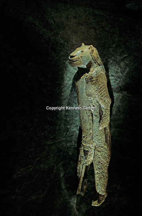 PERMISSION NEEDED-Lowenmensch, Lion Human carved from a mammoth tusk, Hohlenstein-Stadel cave near the Danube River Valley, Germany, 32000 BP