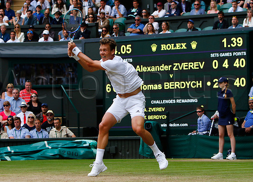 03.07.2016. All England Lawn Tennis and Croquet Club, London, England. The Wimbledon Tennis Championships Middle Sunday. Number 10 seed Tomas Berdych (CZE) hits a backhand during his singles match against number 24 seed Alexander Zverev (GER).